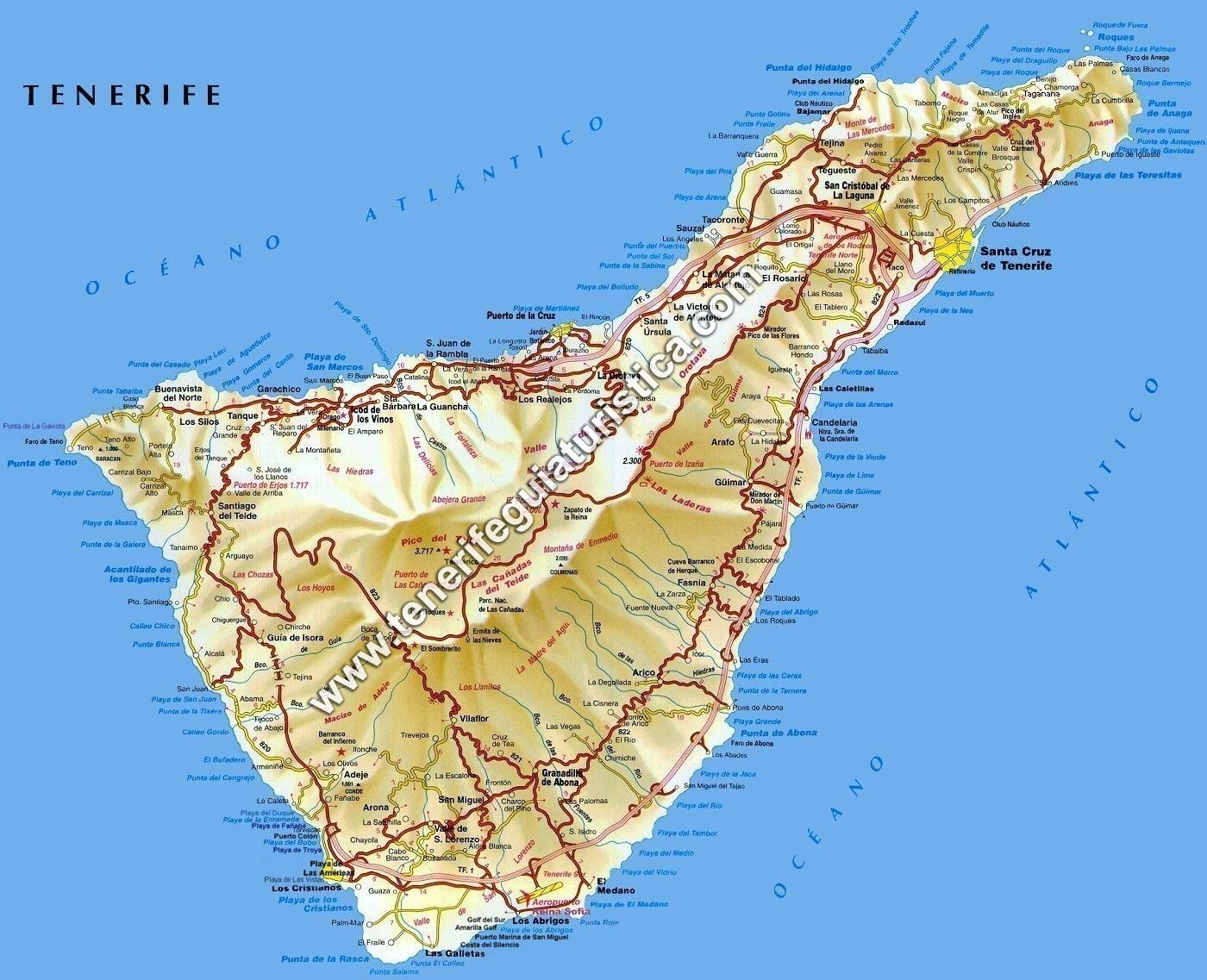 tenerife mapa Mapa de Tenerife   Islas Canarias tenerife mapa